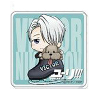 Acrylic Badge - Yuri!!! on Ice / Victor & Makkachin