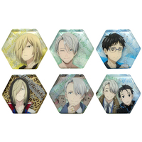 (Full Set) Acrylic Badge - Yuri!!! on Ice / Makkachin & Yuuri & Yuri & Victor