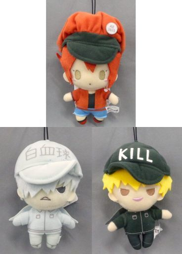 (Full Set) Key Chain - Sanrio / Red Blood Cell (AE3803) & White Blood Cell & Killer T Cell
